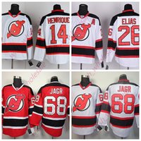 şeytan hokeyi formaları toptan satış-İnsanın Ucuz New Jersey Devils Formalar 26 Patrik Elias 68 Jaromir Jagr 14 Adam Henrique Jersey Dikişli Yüksek Kalite Hokeyi Jersey Beyaz Kırmızı