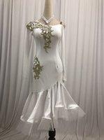 ingrosso gonne lunghe di danza bianca-Concorso Latin Dance Gonna Donne 2020 manica lunga bianco standard latino indossare ballare adulti Rumba vestito da ballo