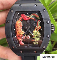 Wholesale big face sport men watch resale online - Top New Arrivals Big MM Men Luxury Mechanical Skeleton Watches tags Black Rubber Stainless Tiger Dragon Face Mens Sport Wristwatches