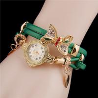 griffe d'arc achat en gros de-Femmes rondes analogiques strass arc pendentif en couches strass homard griffe fermoir montre-bracelet occasionnels strass,