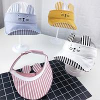 Wholesale visor online - Kids Empty Top Sun Hats Adjustable Girls Boys Visors Cap Cotton Children Holiday Kids Stripe Cute Cat Elastic Hat TTA772