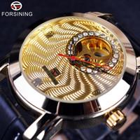 marca relógios diamantes venda por atacado-Forsining Luxo Dourado Design Corrugado Mens Relógios Top Marca de Luxo Automático Dial Pequeno Mostrador Diamante Relógio de Esqueleto J190614