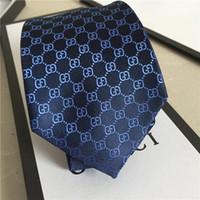 krawatten marken großhandel-Luxus 7 CM männer Druckmuster Krawatten für männer Slim Krawatten Marke Designer Polyester Jacquard Dünne Krawatte Hochzeit Schmale Krawatten mit box