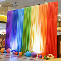 Wholesale centerpieces for wedding chinese for sale - Group buy Ice Silk Rainbow Wedding Backdrop Colourful Wedding Background Party Decoration background drop colors for choose