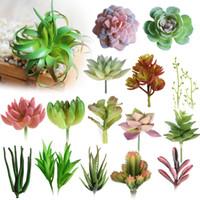 ingrosso mini piante artificiali decorative-Varie Piante Succulente Artificiali Lotus Paesaggio Decorativo Fiore Mini Verde Succulente Piante da Giardino Disposizione Decor C18112601