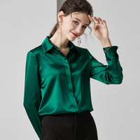 camisa longa verde escura da luva venda por atacado-Mancha de seda Blusa Mulheres Long Sleeve Pure shirt verde escuro das senhoras Tops Gary negócio roupa trabalho de alta qualidade camisas OAF preguiçoso