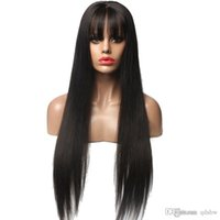 Wholesale best virgin wigs resale online - Best Unprocessed Human Hair Wigs For Black Women With Bangs Pre Plucked Silky Straight Virgin Peruvian Hair Glueless Long Lace Front Wigs