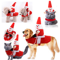 Wholesale big santa claus doll for sale - Group buy Big Dog Christmas Clothes Riding Horse Santa Claus Doll Suit Pets Clothing Festival Costumes Autumn And Winter gg H1