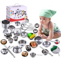 Wholesale play kitchens resale online - 32PCS luxury Stainless steel Cutlery baby kitchen play house simulation tableware early childhood toys for kitchen cutlery