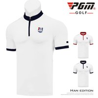 camisas de golf de diseño al por mayor-2019 PGM Golf Camiseta de manga corta para hombres Summer Muscle Zipper Fitness Shirts Golf Sportswear Collar Design D0778