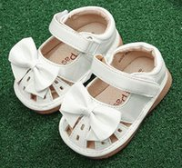 Wholesale babies handmade sandals for sale - Group buy little girls squeaky shoes squeakers years kids handmade bow ribbon half sandals summer nina sapatos fun baby white shoes