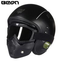 eski scooter kask xl toptan satış-BEON B-117 Fiberglas kask Bağbozumu Motosiklet açık yüz kask Gözlük ile Retro scooter 3/4 maske Moto casco Caspue