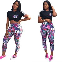 Wholesale t shirt shorts sports resale online - Women Two Piece Outfits AD Ltters Striped T shirts Pants Leggings Cartoon Print Tracksuits Fashion Brand Casual Sport Jogging Suit C61703