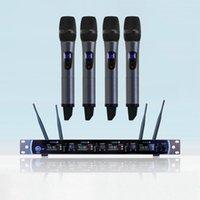 micrófono inalámbrico para sistema de conferencia. al por mayor-Micrófono inalámbrico UHF de 4 canales Sistema de conferencia con cuello de cisne Micrófono de mano
