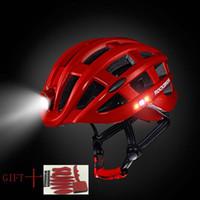 bisiklet kask led ışık toptan satış-Ultralight led Işık böcek net Bisiklet Kask Intergrally-kalıplı Dağ Yolu Bisiklet Kask MTB Güvenli Erkek Kadın bisiklet