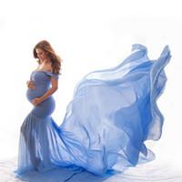 elegante kleider für schwangere großhandel-Umstandskleid Für Foto Maternty Fotografie Requisiten Sexy Schwangere Kleider 2019 Frauen Elegante Lange Meerjungfrau Kleid S236