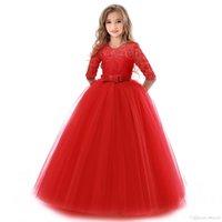 çocuklar için giyim giysileri toptan satış-Kış Giyim Noel partisi desses Fall For Kids Sevimli With Bow Prettygift 5 renk Kızlar Balo Elbise Parti Prenses Elbise