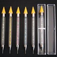 recogedor de uñas al por mayor-Doble punta Nail Dotting Pen Crystal Beads Mango Rhinestone Studs Cera Lápiz Manicura Nail Art Tool