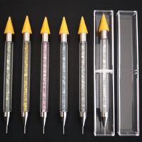nagelpflücker großhandel-Dual-Ended Nail Dotting Pen Kristall Perlen Griff Strass Nieten Picker Wachs Bleistift Maniküre Nail Art Tool