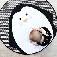 Wholesale creep pad resale online - 95cm Cotton penguin Rug Home Decor Children Room Carpet Round Carpet Crawling Pad Comfortable Creeping Room Decoration Blanket