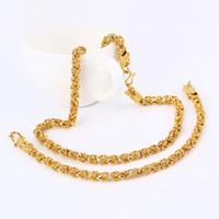 oro chino lleno al por mayor-Mystic Flying Dragón Chino Conjuntos de Joyas de Oro Amarillo Llenos Hombres Mujeres Twistd Cadena Collar Pulsera Set