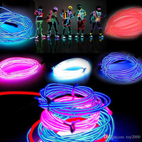 neonlicht dekor großhandel-3 Mt Flexible Neonlicht Glow EL Drahtseil Rohr Flexible Neonlicht 8 Farben Auto Dance Party Kostüm + Controller Weihnachten Urlaub Decor Licht