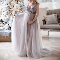 Wholesale maternity gowns for sale - Group buy Maternity Dresses For Photo Shoot V Neck Sequins design Maternity Photography Props Pregnancy Dresses Baby Shower Gift
