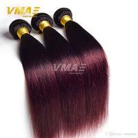 bordo saç örgüleri toptan satış-Düz Ombre Saç Düz 1B 99J Bordo Brezilyalı 3 Demetleri Saç Örgü Demetleri Iki Ton Insan Saçı