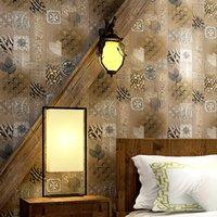 chinesische dekorationen holz großhandel-Wand Stil Vintage Holz Chinesische Papiere Für Wohnzimmer Schlafzimmer Arbeitszimmer Dekoration Wasserdichte Wände Dekoration
