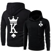 königin kapuzenpullis großhandel-Paare Passende Kleidung Männer Frauen Queen King Hoodies Designer Hooded Sweatshirts