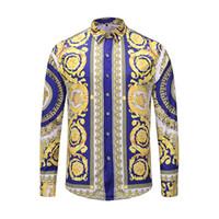 camisa de vestir para hombre al por mayor-Estrenar camisas de vestir de hombre manera de la camisa de los hombres ocasionales de la medusa camisas floral del oro impresión delgado apto de las camisas de los hombres