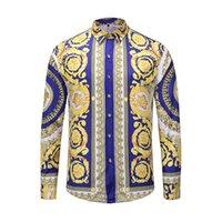 camisas impressas animais venda por atacado-Marca New Dress camisas dos homens Moda Casual shirt Homens Medusa Shirts floral do ouro impressão Slim Fit Camisas Men