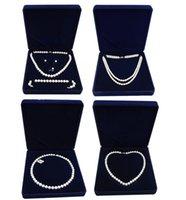caixas para vender jóias venda por atacado-Alta qualidade de veludo caixa de jóias colar de pérolas caixa de presente para jóias vendidas por um pc frete grátis