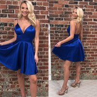 Wholesale little navy blue cocktail dress resale online - Royal Blue Short Slim Cocktail Dresses Satin Simple Formal Sexy Special Occasion Prom Party Gowns Customized Plus Size BM1558