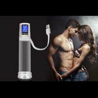 extender enhancer großhandel-Männliche USB wiederaufladbare Penispumpe Vergrößerer, LED Automatische Penisvergrößerung Enhancer Gays Electric Pro Extender für Männer