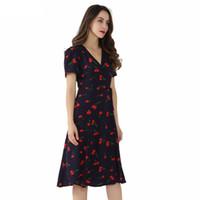 ingrosso reticolo incrociato di arco-Vintage scollo a V Motivo floreale Midi Wrap Dress Cherry Dress Papillon Cross Design Manica corta Retro Vestido Mujer