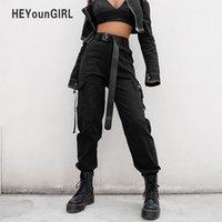 frauen schwarze ladung hose groihandel-Streetwear Cargo Pants Frauen Casual Jogger Schwarz Hohe Taille Lose Weibliche Hose Korean Style Ladies Pants Capri