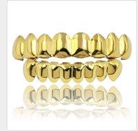 niedrige klammer großhandel-HIPHOP Hip-Hop Gold Bracket Oberer Zahn, 8 Unterer Zahn, 8 Glänzende Klammern