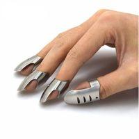 Wholesale hand guard protector finger resale online - 4pcs set Adjustable Stainless Steel Finger Hand Guard Finger Protector Slice Chop Safe Cooking Tool W7452