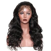 insan dantel peruk malezya toptan satış-Malezya Vücut Dalga İnsan Saç Dantel Ön Peruk 8-26 inç Yeni Varış Tam Dantel Peruk Doğal Renk Tutkalsız Dantel Peruk Perakende