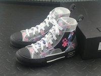 женские верхние ботинки холстины оптовых-Мужская дизайнерская обувь 19SS цветы технический холст B23 высокие верхние кроссовки в Косой женской моде кроссовки обувь сапоги
