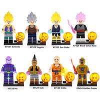 Wholesale gotenks action figure resale online - Dragon Ball Z Gotenks Son Goku Uub Hit Black Goku Rose Krillin Vogeta Golden Frezer Mini Action Figure Toy Building Block Bricks