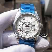 Wholesale movement rings for sale - Group buy Luxury Men Watch SKY Stainless Steel Strap Roman White Dial Automatic Movement GMT Work Ring Command MM Men s Watches