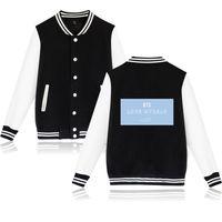 fundos do amor venda por atacado-XXS-4XL BTS Bangtan Meninos Jaqueta de Beisebol Casuais Harajuku Camisola Outwear Fundo Azul Me Love Letter Impresso Streetwear Tops