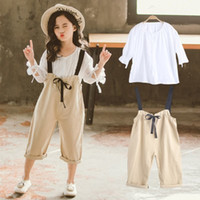 Wholesale trousers for girls fashion for sale - Girls Belt Trousers Suit Summer New Fashion Short Sleeve Cotton Belt Trousers Two piece Suit for Big Girls