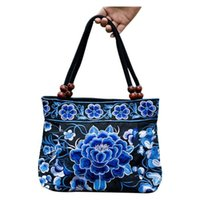 ethnisch gestickte handtaschen großhandel-Ethnische Blumen Boho Hobo Stickerei Bestickte Taschen Damen Damen Schultertasche Einkaufstasche Handtasche Damen Marke Taschen Luxus Logo