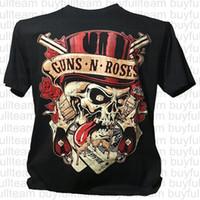 siyah kaya tişört toptan satış-Guns n Roses Kafatası Amerikan Hard Rock Band Yaz Erkek Tees Erkek Siyah Kısa Kollu Moda Yuvarlak Yaka T Shirt Boyut XL S L 2XL 3XL Tops