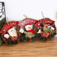 el yapımı yılbaşı süsü toptan satış-23 cm El Yapımı Noel Dekoratif Girlands Rattan Çelenk Noel Ağacı Dekorasyon Kapı Asılı Süsler Pencere Sahne Dekor
