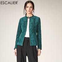 grüne lederhülsenjacke großhandel-ESCALIER Herbst-Frauen-echtes Leder-Jacken beiläufiges Pigskin Plus Size Oberbekleidung Grün langärmlige Frauen-Basic-Jacke CoatsMX190929