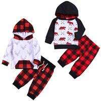 baby-outfit rot großhandel-Baby Christmas Set Kids Animal Deer Print Langarm Hoddie Top + Red Plaid lange Hosen-Kleinkind Weihnachten Outfits Baby Deisgner Kleidung Jungen M561